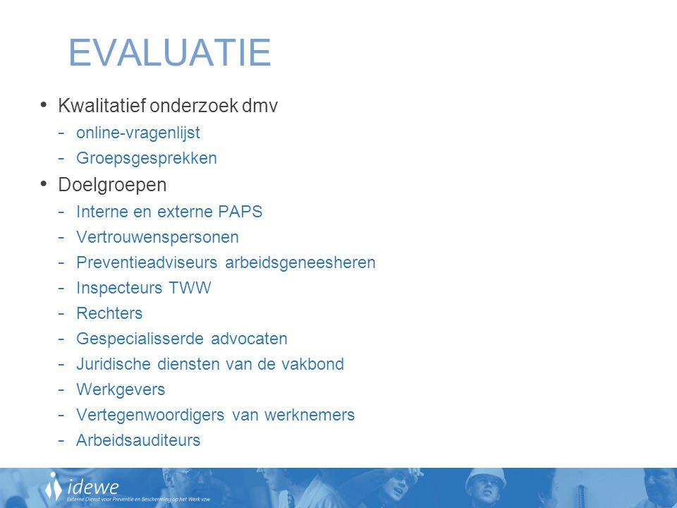 EVALUATIE Kwalitatief onderzoek dmv - online-vragenlijst - Groepsgesprekken Doelgroepen - Interne en externe PAPS - Vertrouwenspersonen - Preventieadv