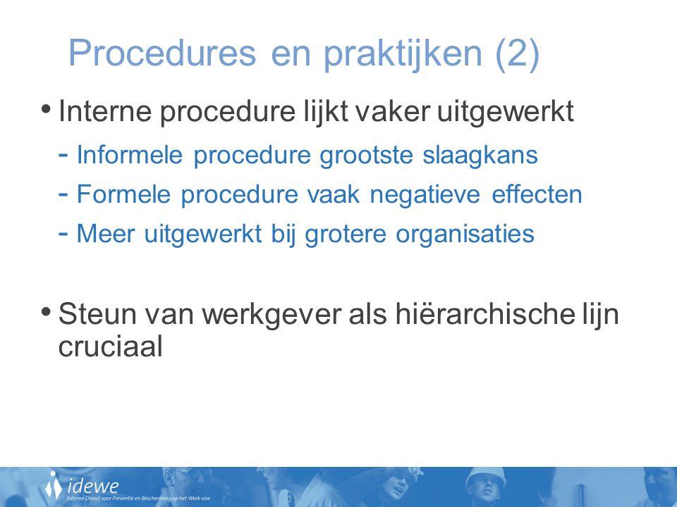 Procedures en praktijken (2) Interne procedure lijkt vaker uitgewerkt - Informele procedure grootste slaagkans - Formele procedure vaak negatieve effe