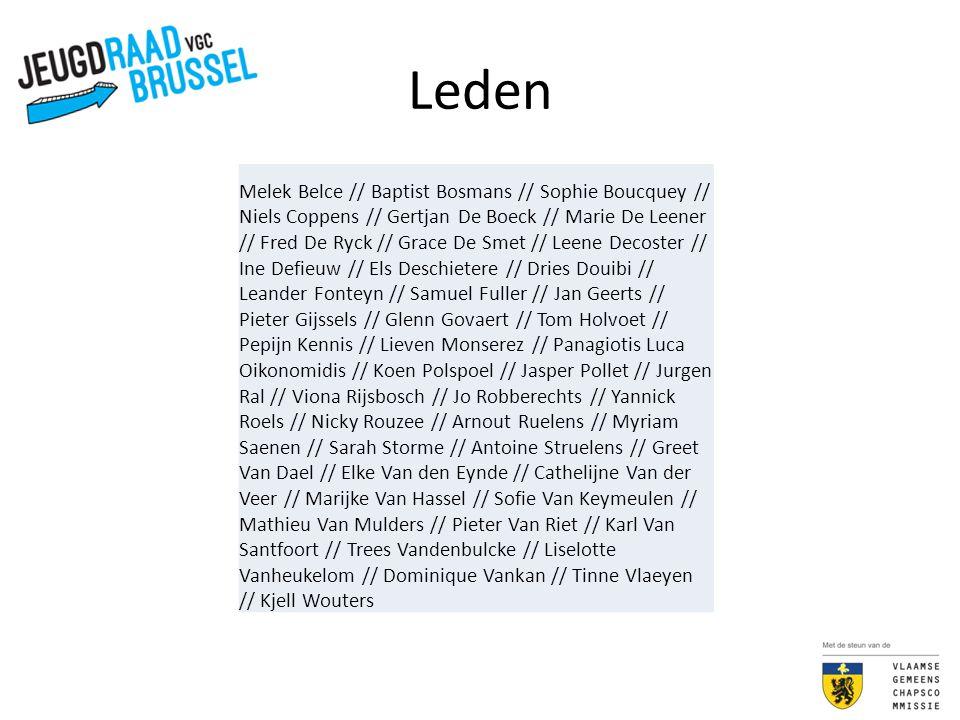 Leden Melek Belce // Baptist Bosmans // Sophie Boucquey // Niels Coppens // Gertjan De Boeck // Marie De Leener // Fred De Ryck // Grace De Smet // Le