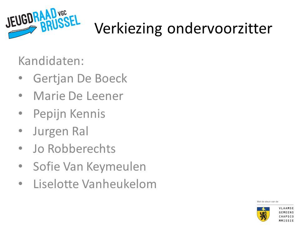 Verkiezing ondervoorzitter Kandidaten: Gertjan De Boeck Marie De Leener Pepijn Kennis Jurgen Ral Jo Robberechts Sofie Van Keymeulen Liselotte Vanheuke