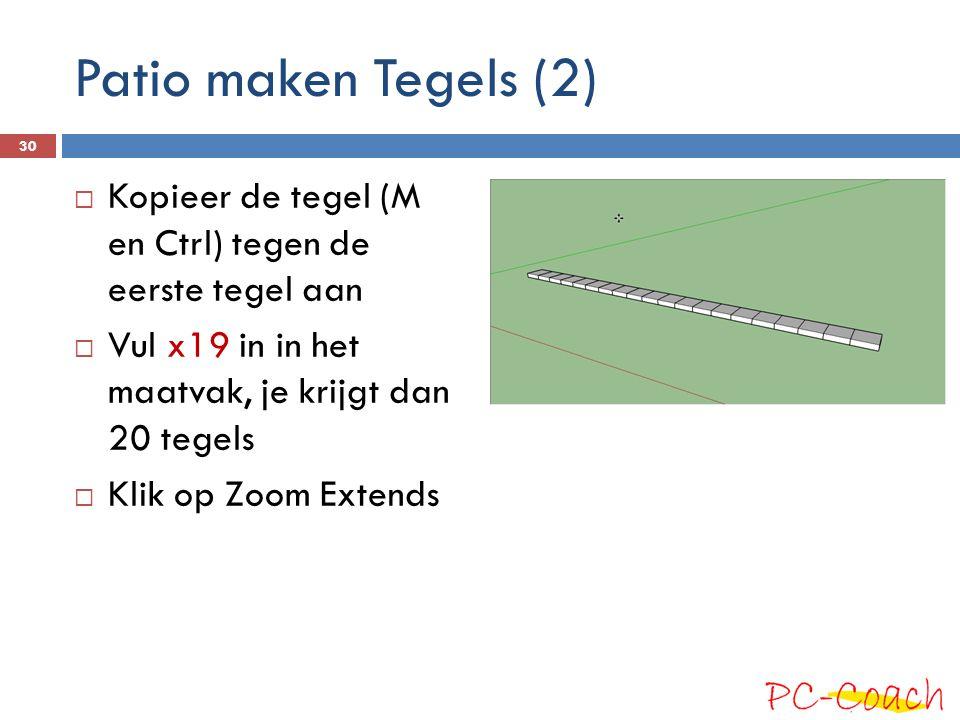 Patio maken Tegels (2)  Kopieer de tegel (M en Ctrl) tegen de eerste tegel aan  Vul x19 in in het maatvak, je krijgt dan 20 tegels  Klik op Zoom Extends 30