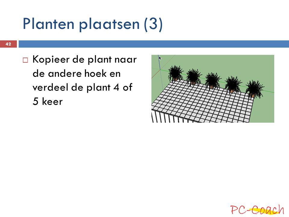 Planten plaatsen (3)  Kopieer de plant naar de andere hoek en verdeel de plant 4 of 5 keer 42