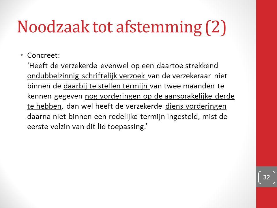 Noodzaak tot afstemming (2) Concreet: 'Heeft de verzekerde evenwel op een daartoe strekkend ondubbelzinnig schriftelijk verzoek van de verzekeraar nie