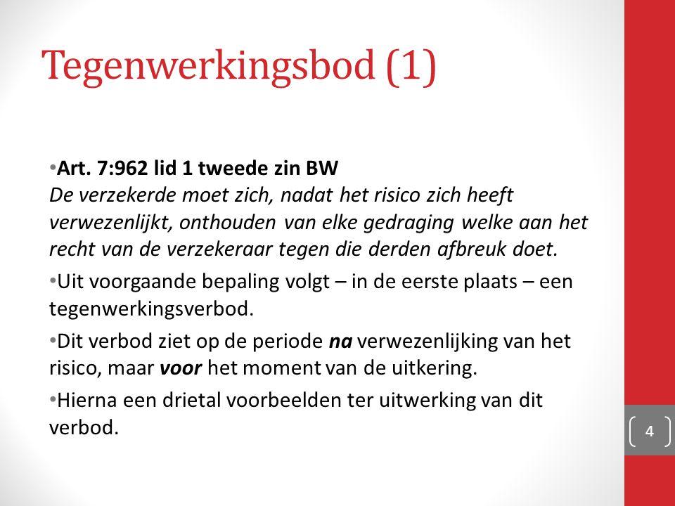 Tegenwerkingsbod (1) Art. 7:962 lid 1 tweede zin BW De verzekerde moet zich, nadat het risico zich heeft verwezenlijkt, onthouden van elke gedraging w
