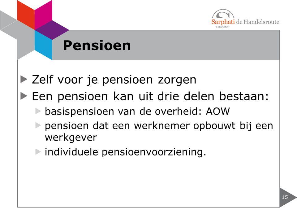 Zelf voor je pensioen zorgen Een pensioen kan uit drie delen bestaan: basispensioen van de overheid: AOW pensioen dat een werknemer opbouwt bij een we