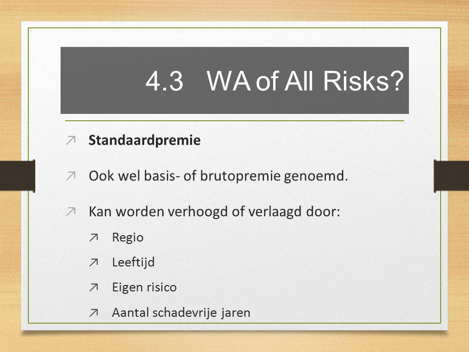 4.3 WA of All Risks. ↗ Standaardpremie ↗ Ook wel basis- of brutopremie genoemd.