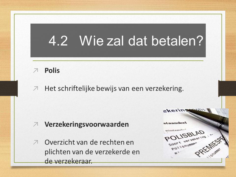 4.2 Wie zal dat betalen. ↗ Polis ↗ Het schriftelijke bewijs van een verzekering.