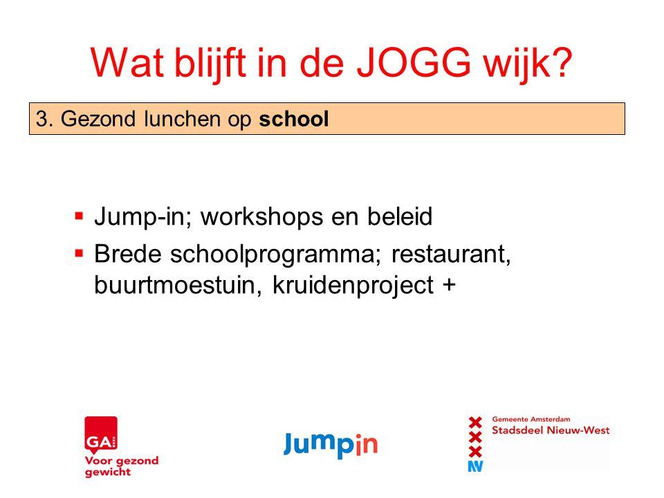 Wat blijft in de JOGG wijk?  Jump-in; workshops en beleid  Brede schoolprogramma; restaurant, buurtmoestuin, kruidenproject + 3.Gezond lunchen op sc