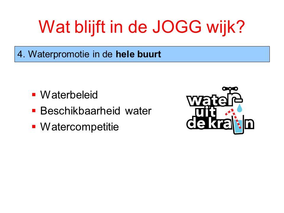 Wat blijft in de JOGG wijk?  Waterbeleid  Beschikbaarheid water  Watercompetitie 4.Waterpromotie in de hele buurt