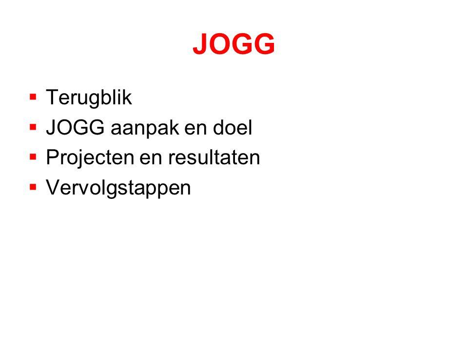 JOGG  Terugblik  JOGG aanpak en doel  Projecten en resultaten  Vervolgstappen