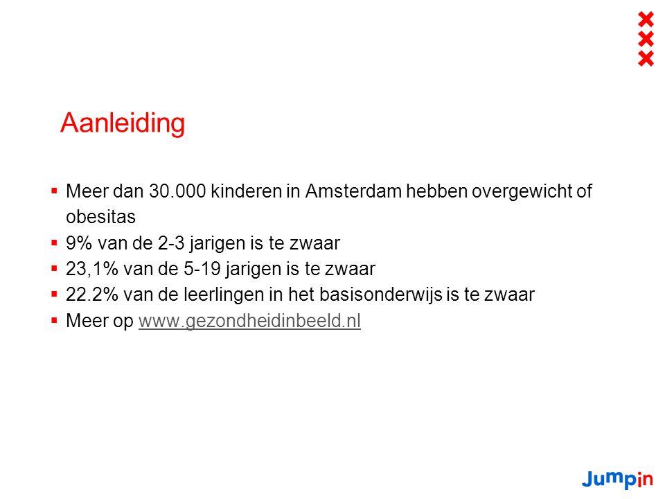 Aanleiding  Meer dan 30.000 kinderen in Amsterdam hebben overgewicht of obesitas  9% van de 2-3 jarigen is te zwaar  23,1% van de 5-19 jarigen is te zwaar  22.2% van de leerlingen in het basisonderwijs is te zwaar  Meer op www.gezondheidinbeeld.nlwww.gezondheidinbeeld.nl