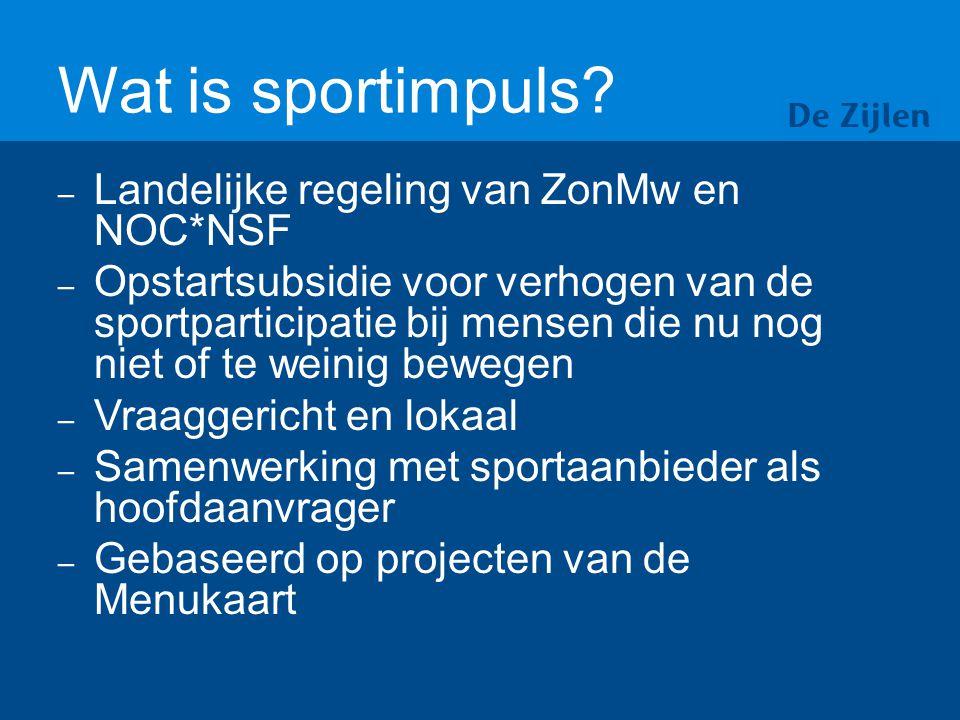 Aanvragen projecten sportimpuls 2014 + IWP- VB In april 2014 heeft De Zijlen opnieuw 3 aanvragen ingediend.