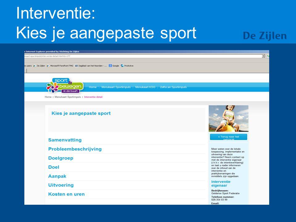 Interventie: Kies je aangepaste sport