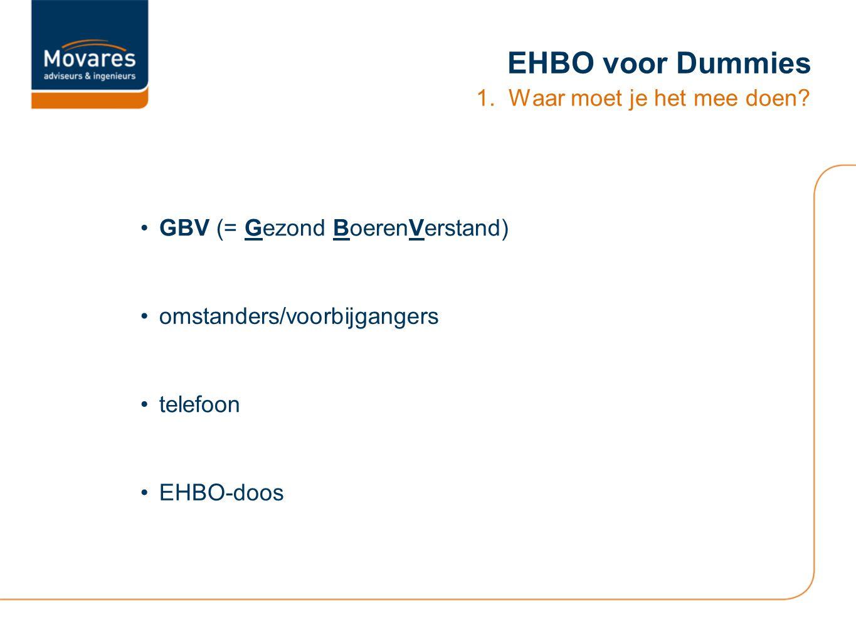 EHBO voor Dummies 1. Waar moet je het mee doen? GBV (= Gezond BoerenVerstand) omstanders/voorbijgangers telefoon EHBO-doos