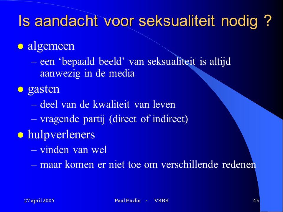 27 april 2005Paul Enzlin - VSBS45 Is aandacht voor seksualiteit nodig ? l algemeen –een 'bepaald beeld' van seksualiteit is altijd aanwezig in de medi