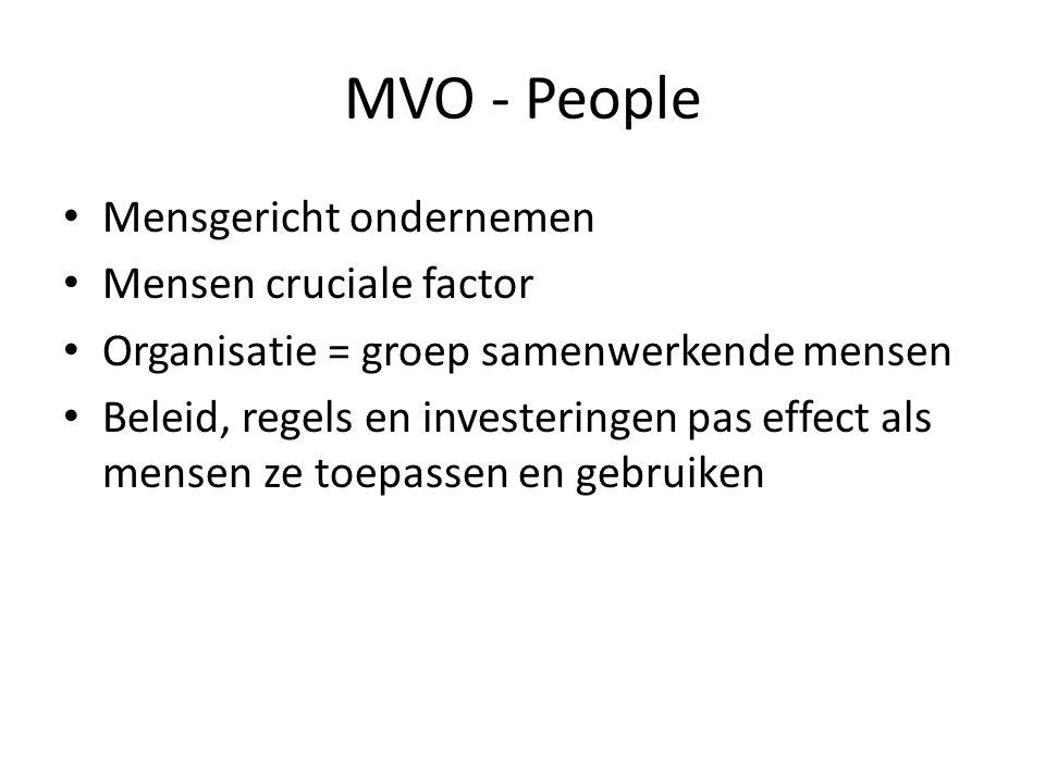 MVO - People Mensgericht ondernemen Mensen cruciale factor Organisatie = groep samenwerkende mensen Beleid, regels en investeringen pas effect als mensen ze toepassen en gebruiken