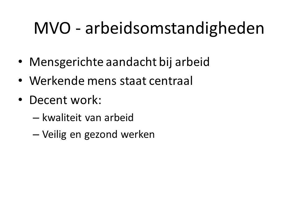 MVO - arbeidsomstandigheden Mensgerichte aandacht bij arbeid Werkende mens staat centraal Decent work: – kwaliteit van arbeid – Veilig en gezond werken