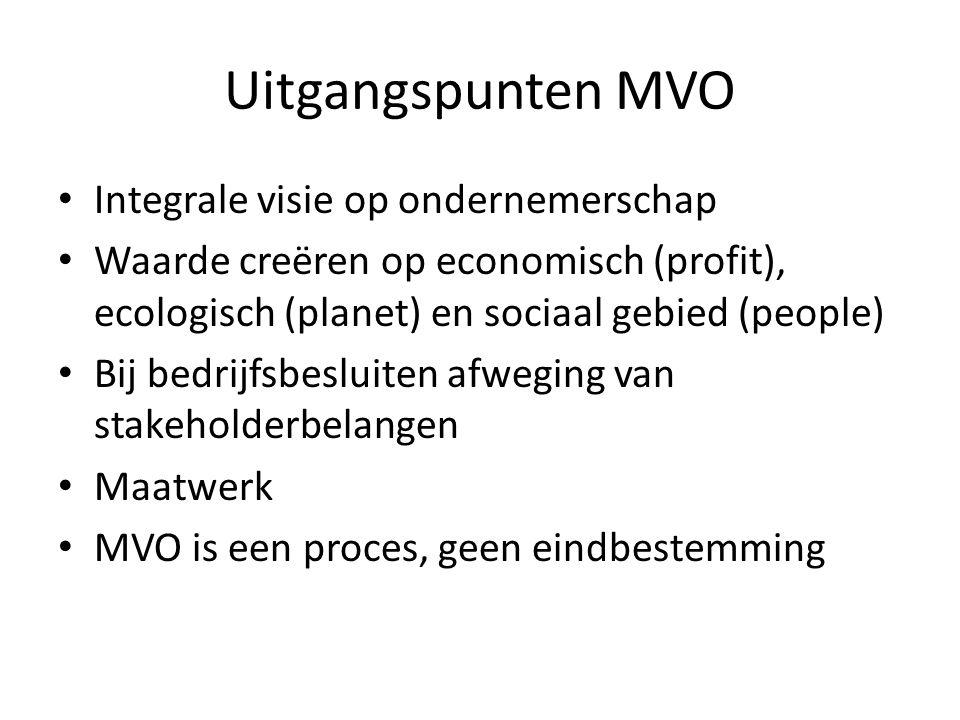 Uitgangspunten MVO Integrale visie op ondernemerschap Waarde creëren op economisch (profit), ecologisch (planet) en sociaal gebied (people) Bij bedrijfsbesluiten afweging van stakeholderbelangen Maatwerk MVO is een proces, geen eindbestemming