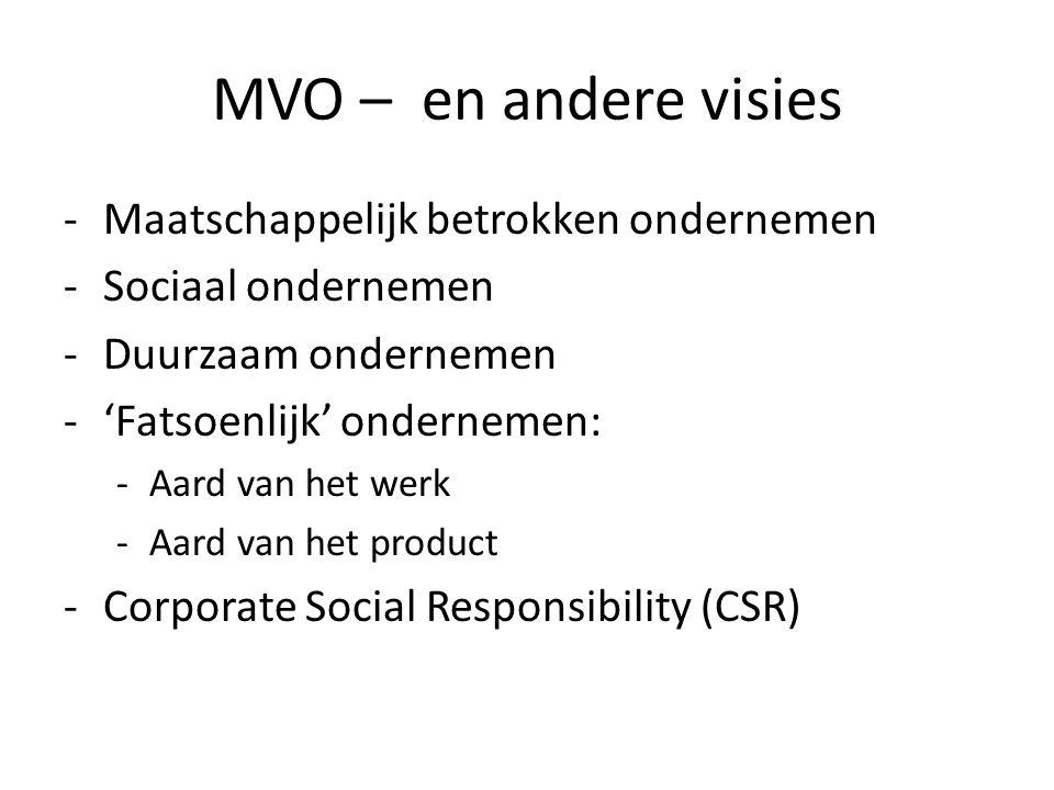 MVO – en andere visies -Maatschappelijk betrokken ondernemen -Sociaal ondernemen -Duurzaam ondernemen -'Fatsoenlijk' ondernemen: -Aard van het werk -Aard van het product -Corporate Social Responsibility (CSR)