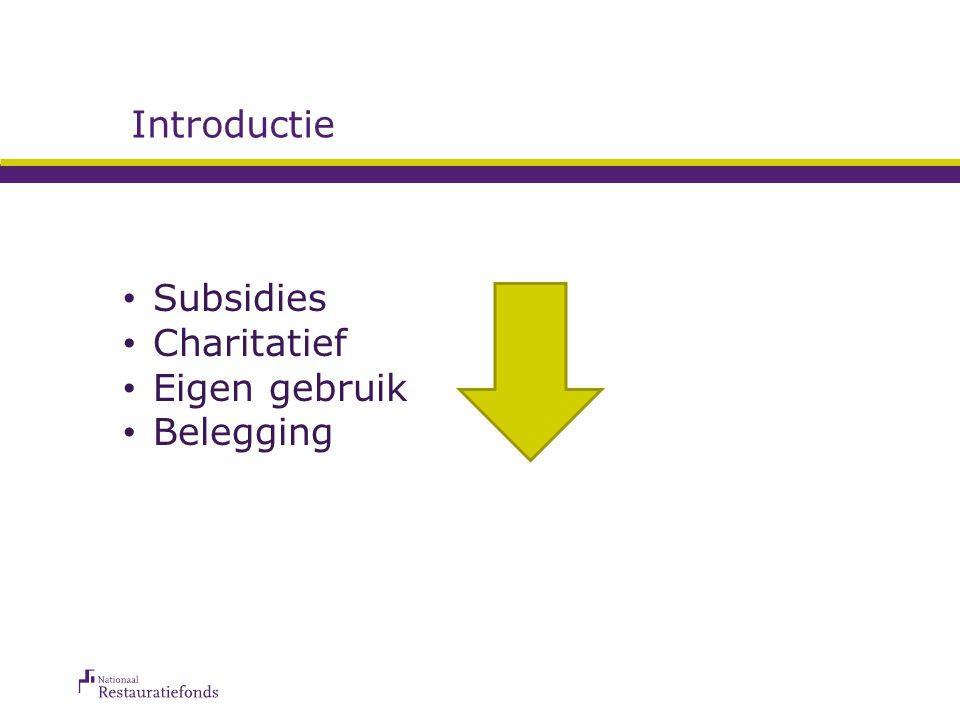 Introductie Subsidies Charitatief Eigen gebruik Belegging