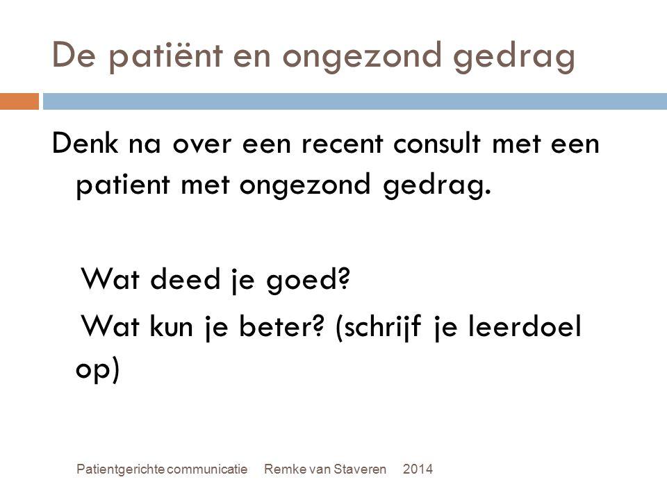 De patiënt en ongezond gedrag Denk na over een recent consult met een patient met ongezond gedrag. Wat deed je goed? Wat kun je beter? (schrijf je lee