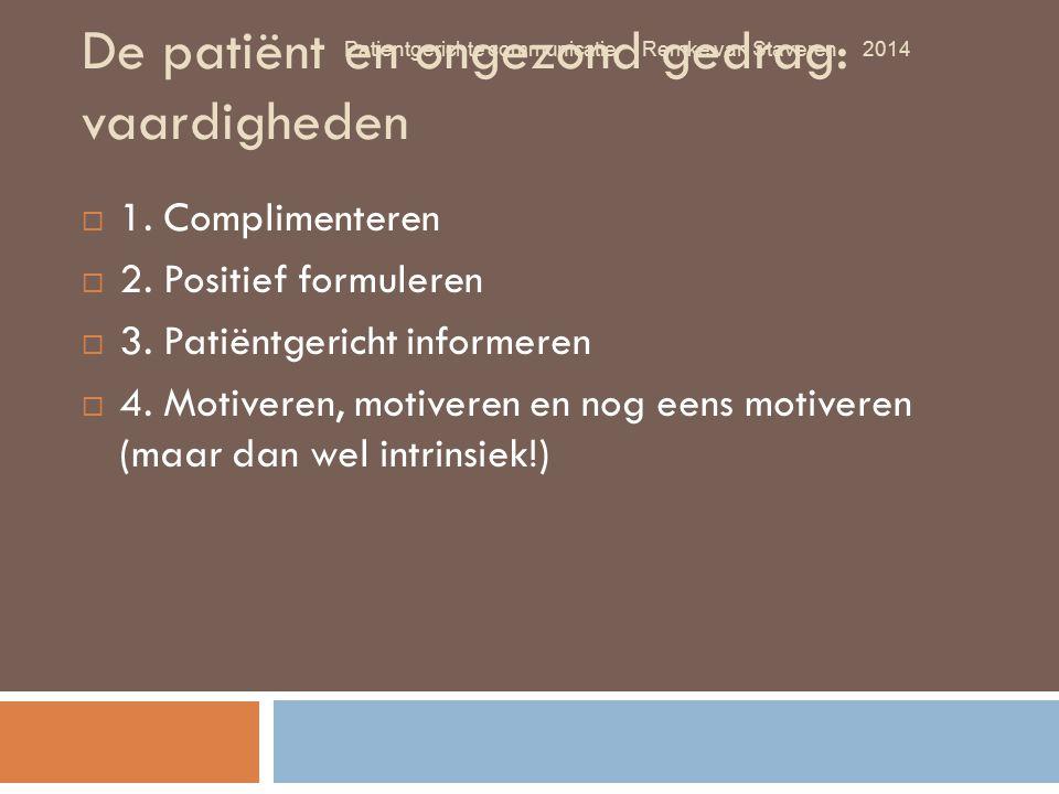 De patiënt en ongezond gedrag: vaardigheden  1. Complimenteren  2. Positief formuleren  3. Patiëntgericht informeren  4. Motiveren, motiveren en n
