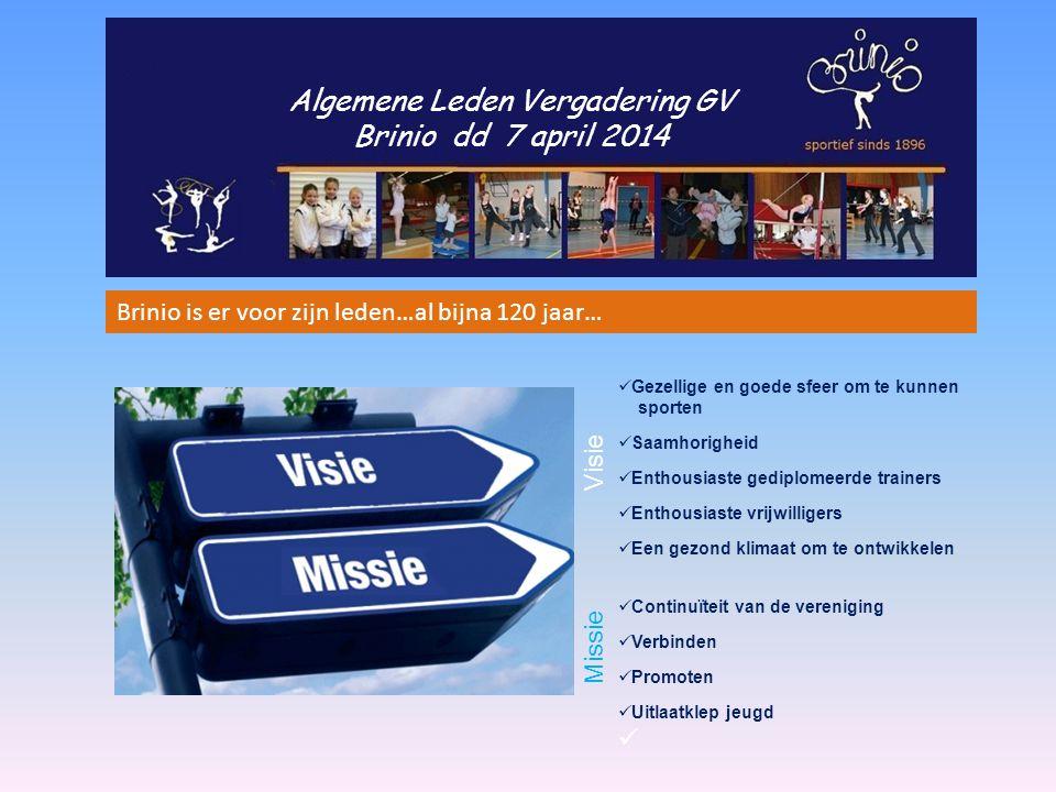 Algemene Leden Vergadering GV Brinio dd 7 april 2014 Brinio is er voor zijn leden…al bijna 120 jaar… Gezellige en goede sfeer om te kunnen sporten Saa
