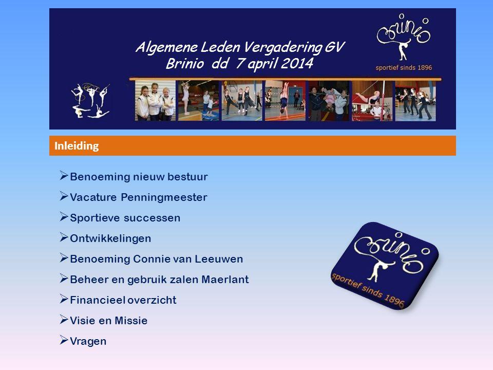 Algemene Leden Vergadering GV Brinio dd 7 april 2014 Inleiding  Benoeming nieuw bestuur  Vacature Penningmeester  Sportieve successen  Ontwikkelin