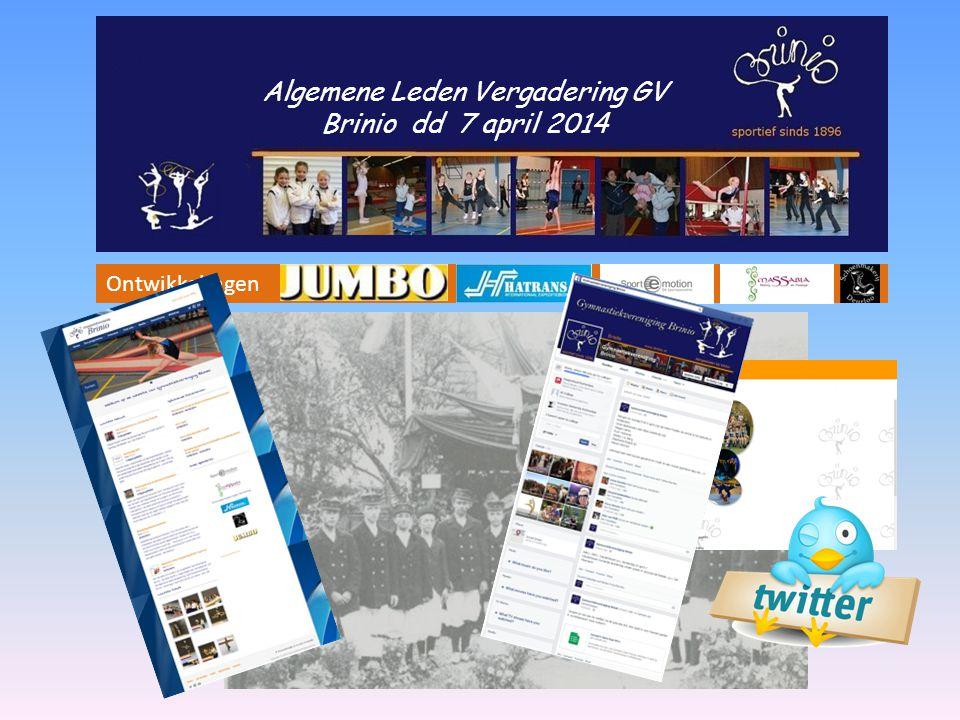 Sponsors Facebook Website Twitter Algemene Leden Vergadering GV Brinio dd 7 april 2014 Ontwikkelingen