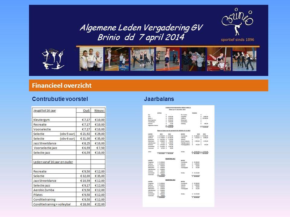 Algemene Leden Vergadering GV Brinio dd 7 april 2014 Financieel overzicht Contrubutie voorstel Jaarbalans