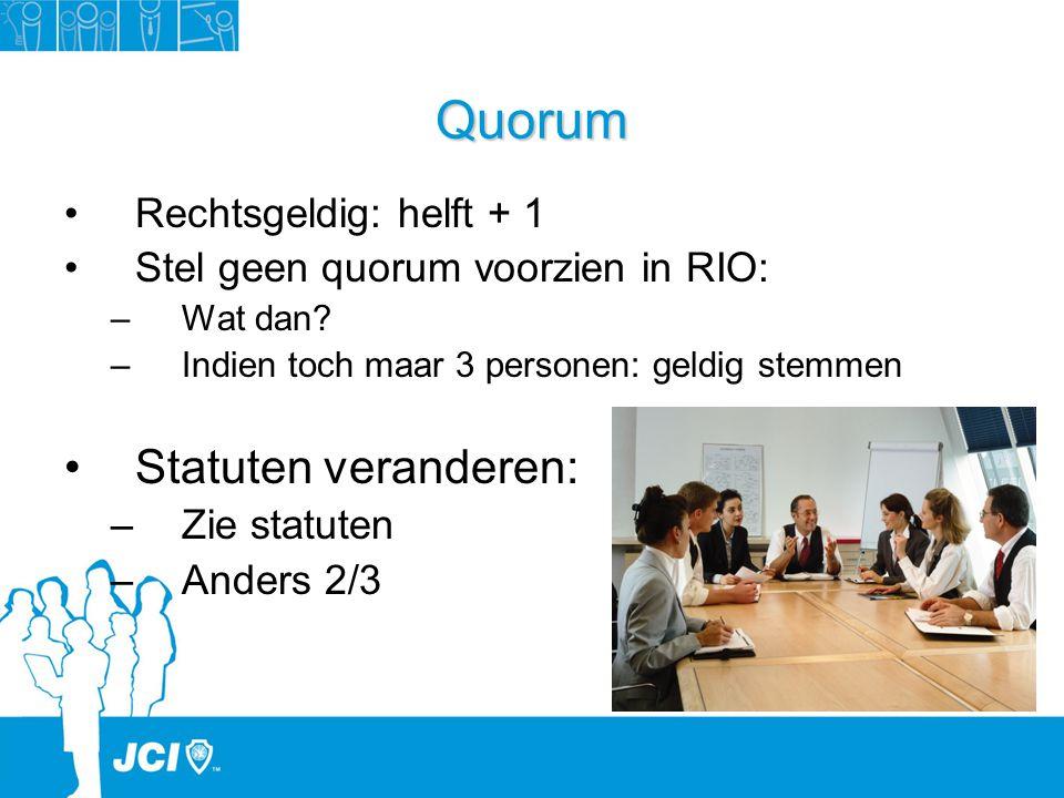Quorum Rechtsgeldig: helft + 1 Stel geen quorum voorzien in RIO: –Wat dan? –Indien toch maar 3 personen: geldig stemmen Statuten veranderen: –Zie stat