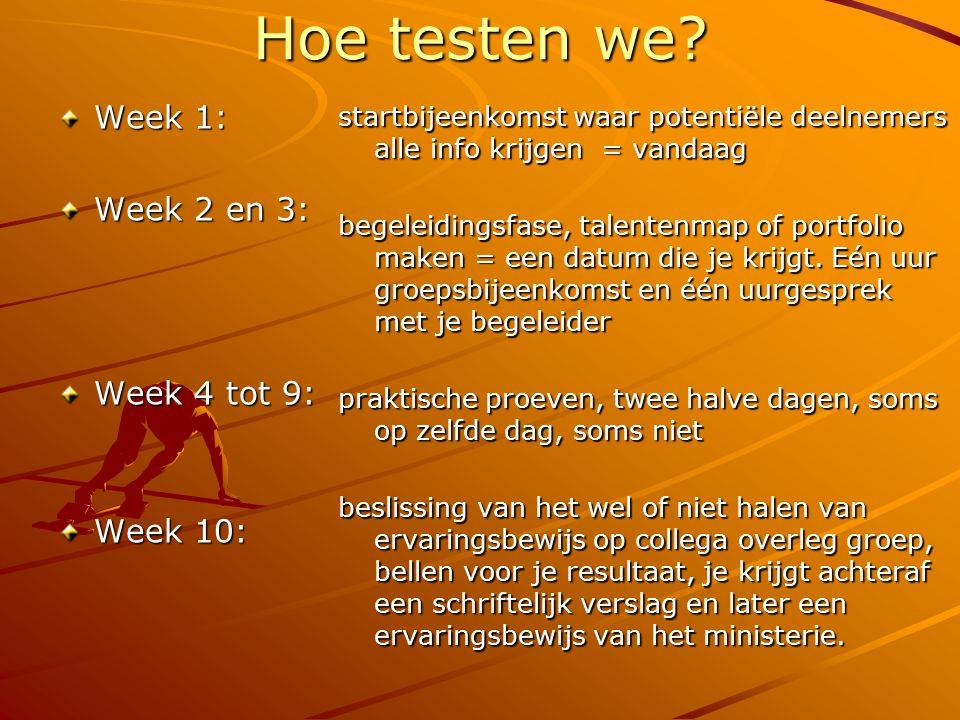 Hoe testen we? Week 1: Week 2 en 3: Week 4 tot 9: Week 10: startbijeenkomst waar potentiële deelnemers alle info krijgen = vandaag begeleidingsfase, t