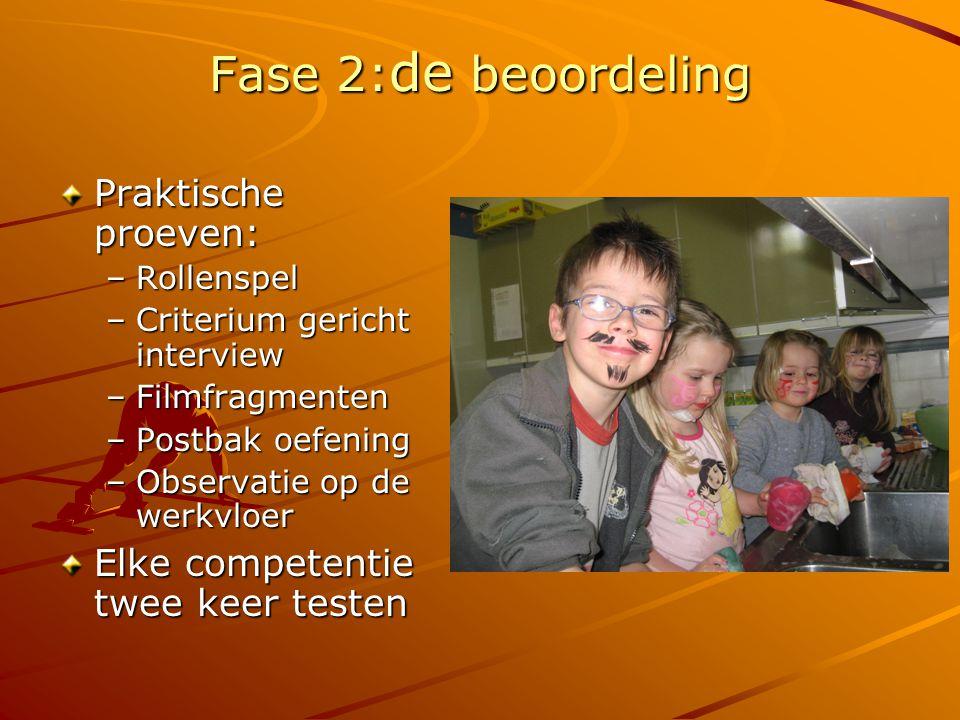 Fase 2: de beoordeling Praktische proeven: –Rollenspel –Criterium gericht interview –Filmfragmenten –Postbak oefening –Observatie op de werkvloer Elke competentie twee keer testen