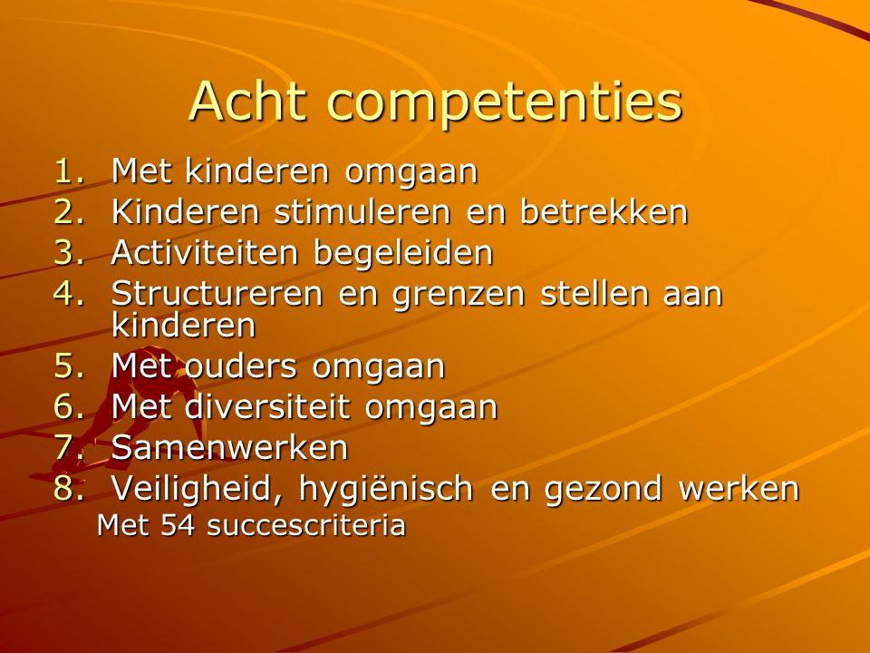 Acht competenties 1.Met kinderen omgaan 2.Kinderen stimuleren en betrekken 3.Activiteiten begeleiden 4.Structureren en grenzen stellen aan kinderen 5.