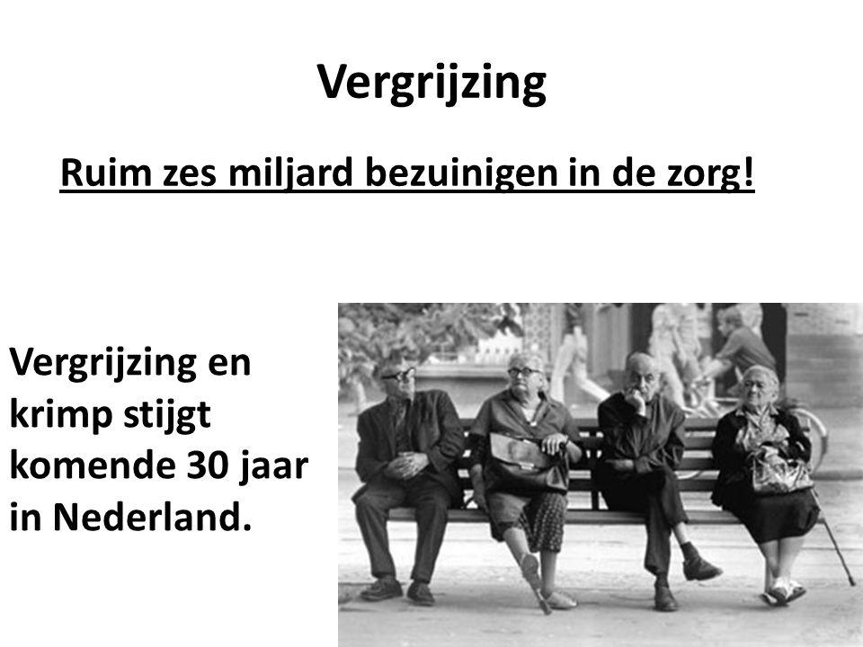 Vergrijzing Vergrijzing en krimp stijgt komende 30 jaar in Nederland.