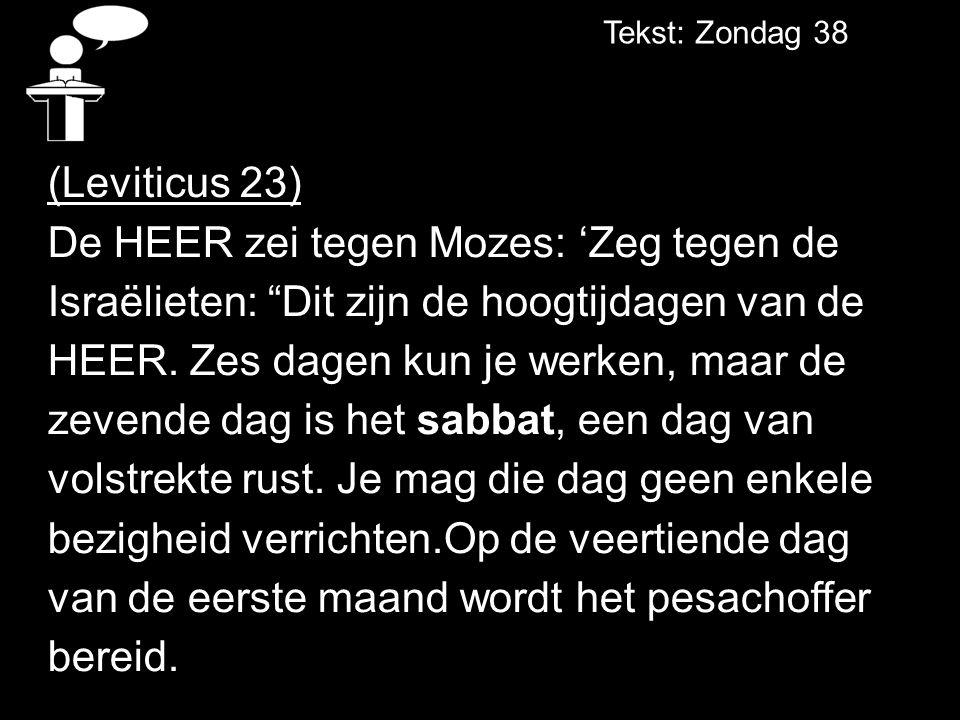 Tekst: Zondag 38 (Leviticus 23) De HEER zei tegen Mozes: 'Zeg tegen de Israëlieten: Dit zijn de hoogtijdagen van de HEER.