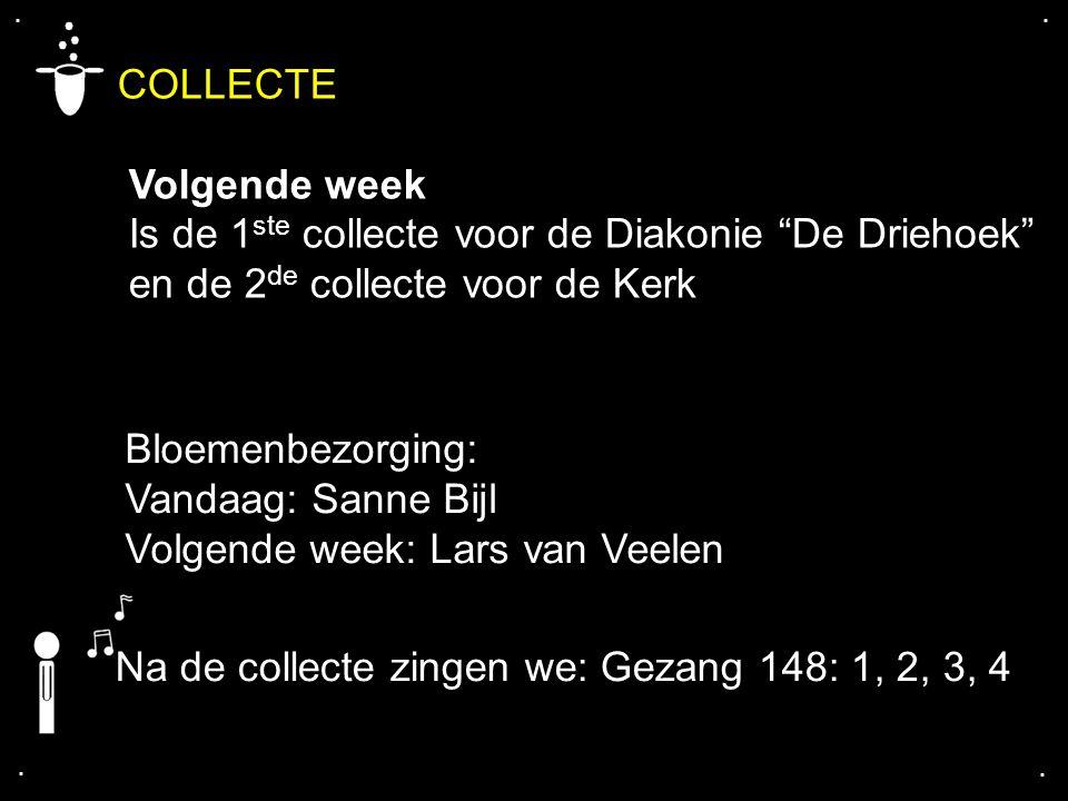 """.... COLLECTE Volgende week Is de 1 ste collecte voor de Diakonie """"De Driehoek"""" en de 2 de collecte voor de Kerk Bloemenbezorging: Vandaag: Sanne Bijl"""
