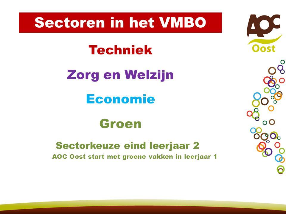 Techniek Zorg en Welzijn Economie Groen Sectorkeuze eind leerjaar 2 AOC Oost start met groene vakken in leerjaar 1 Sectoren in het VMBO