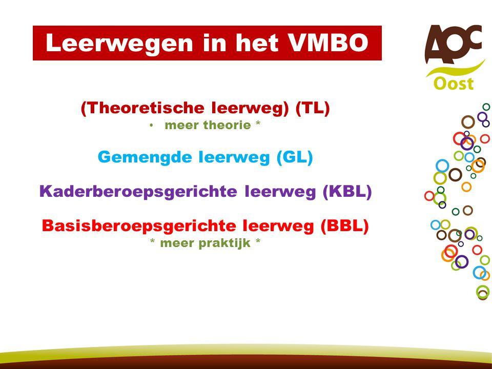 Leerwegen in het VMBO (Theoretische leerweg) (TL) meer theorie * Gemengde leerweg (GL) Kaderberoepsgerichte leerweg (KBL) Basisberoepsgerichte leerweg (BBL) * meer praktijk *