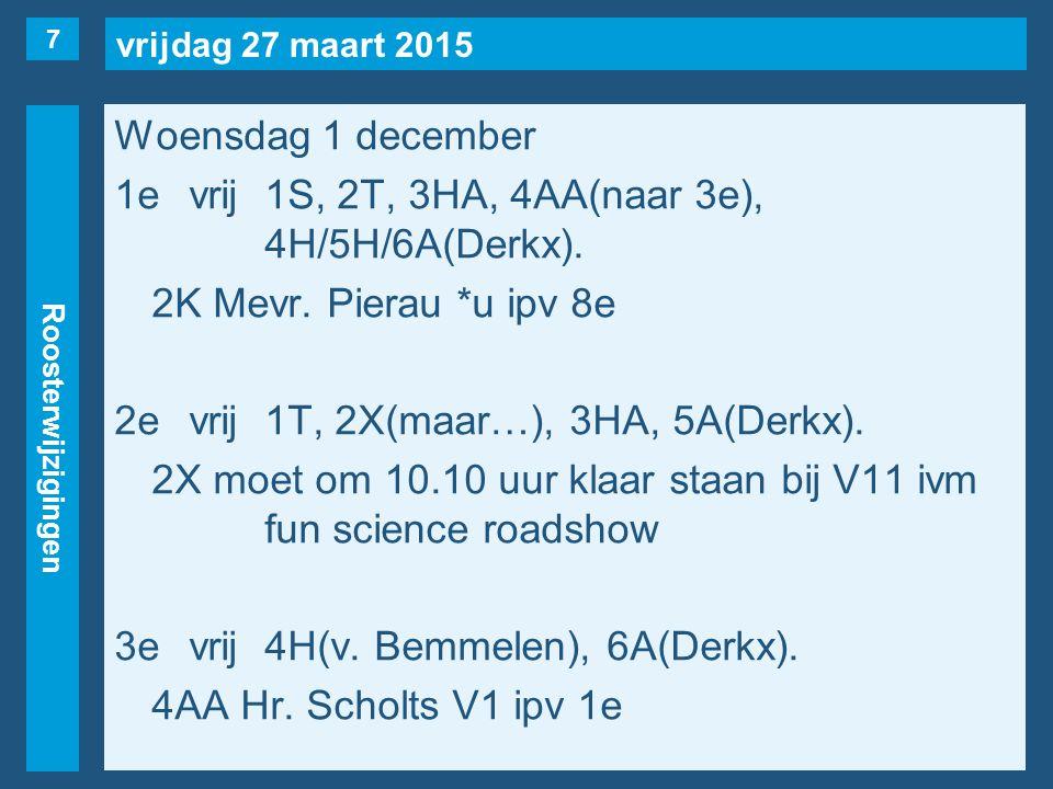 vrijdag 27 maart 2015 Roosterwijzigingen Woensdag 1 december 1evrij1S, 2T, 3HA, 4AA(naar 3e), 4H/5H/6A(Derkx).