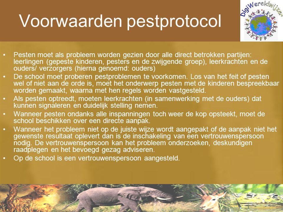 Voorwaarden pestprotocol Pesten moet als probleem worden gezien door alle direct betrokken partijen: leerlingen (gepeste kinderen, pesters en de zwijg