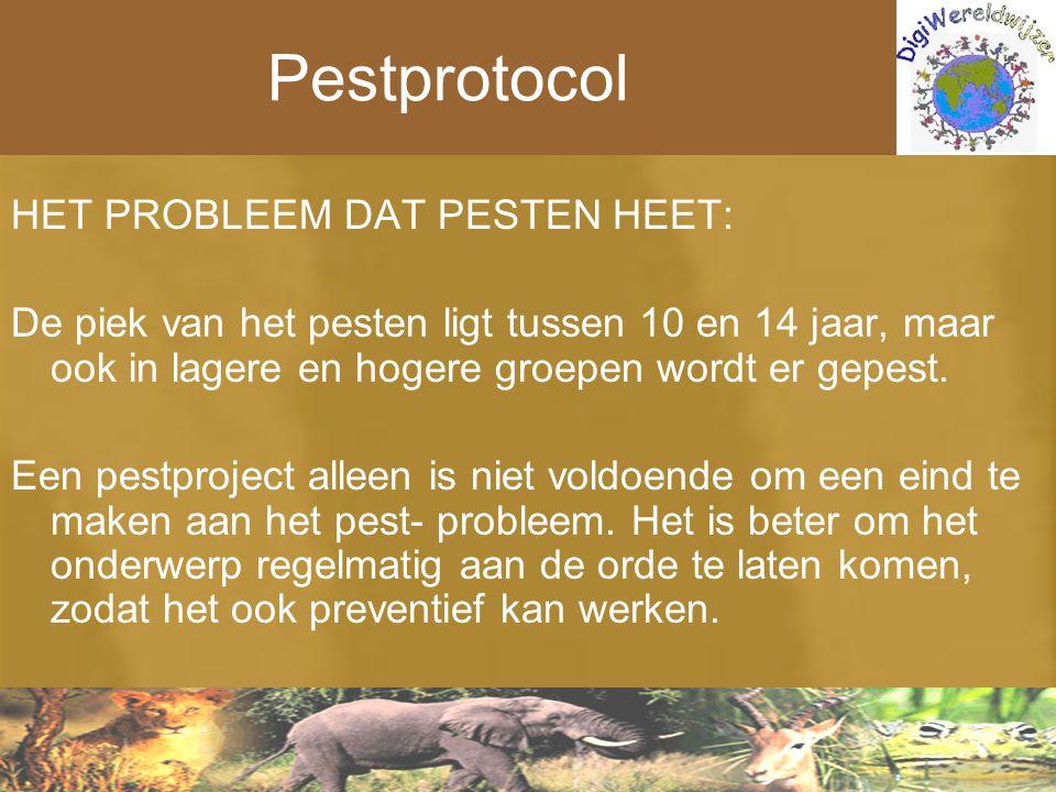 Pestprotocol HET PROBLEEM DAT PESTEN HEET: De piek van het pesten ligt tussen 10 en 14 jaar, maar ook in lagere en hogere groepen wordt er gepest. Een