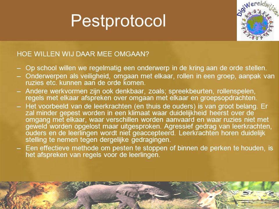 Pestprotocol HOE WILLEN WIJ DAAR MEE OMGAAN? –Op school willen we regelmatig een onderwerp in de kring aan de orde stellen. –Onderwerpen als veilighei