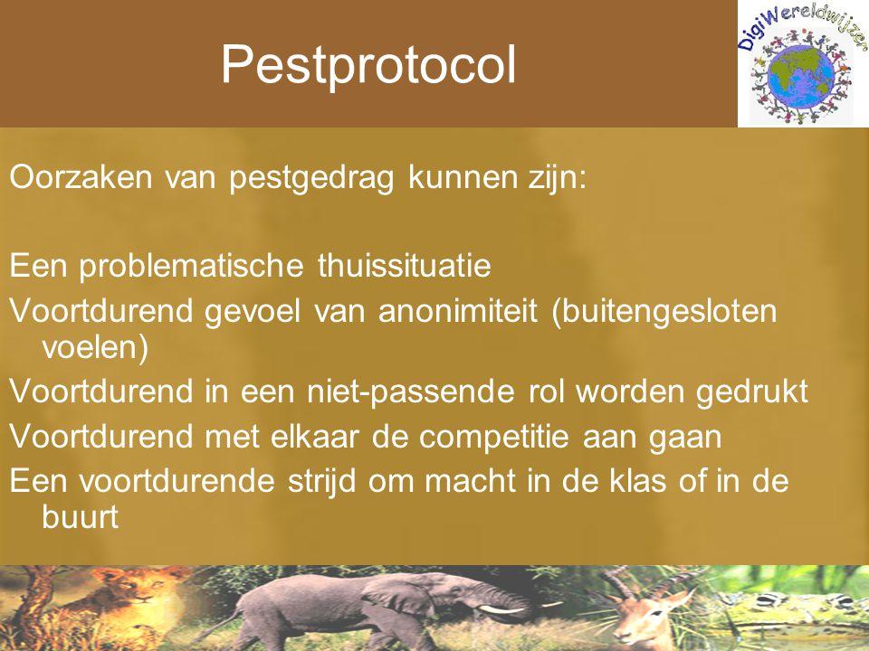 Pestprotocol Oorzaken van pestgedrag kunnen zijn: Een problematische thuissituatie Voortdurend gevoel van anonimiteit (buitengesloten voelen) Voortdur
