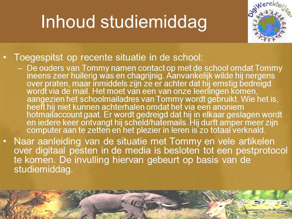 Inhoud studiemiddag Toegespitst op recente situatie in de school: –De ouders van Tommy namen contact op met de school omdat Tommy ineens zeer huilerig