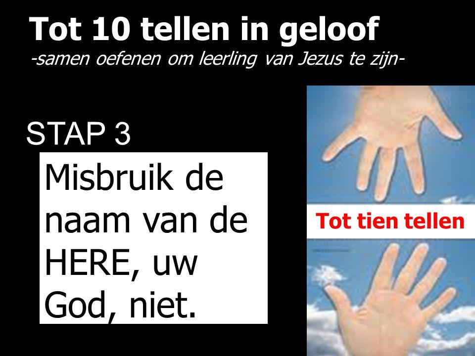 Tot 10 tellen in geloof -samen oefenen om leerling van Jezus te zijn- STAP 3 Misbruik de naam van de HERE, uw God, niet.