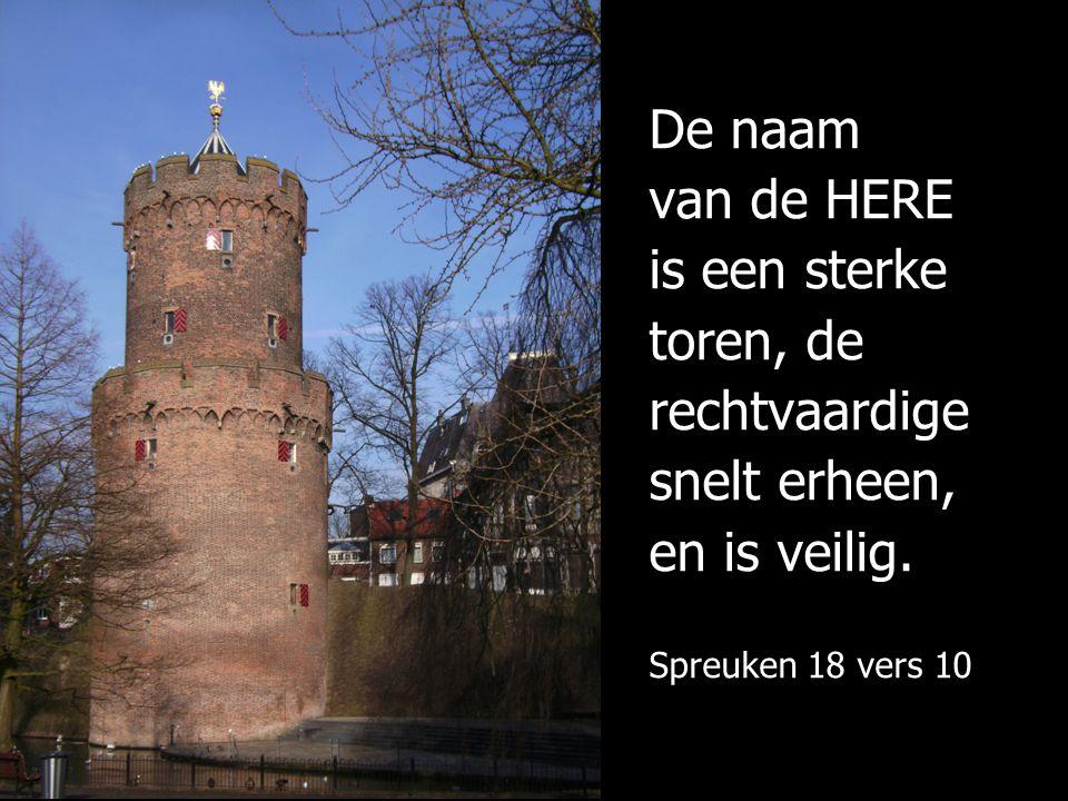 De naam van de HERE is een sterke toren, de rechtvaardige snelt erheen, en is veilig.