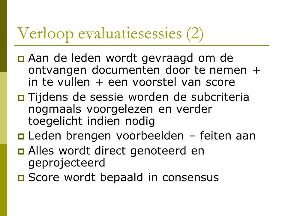 Verloop evaluatiesessies (2)  Aan de leden wordt gevraagd om de ontvangen documenten door te nemen + in te vullen + een voorstel van score  Tijdens