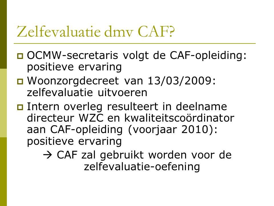 Zelfevaluatie dmv CAF?  OCMW-secretaris volgt de CAF-opleiding: positieve ervaring  Woonzorgdecreet van 13/03/2009: zelfevaluatie uitvoeren  Intern