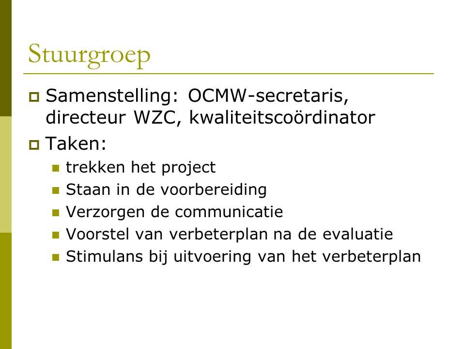 Stuurgroep  Samenstelling: OCMW-secretaris, directeur WZC, kwaliteitscoördinator  Taken: trekken het project Staan in de voorbereiding Verzorgen de